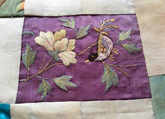 絹袷チョガッポ 小鳥刺繍部分 19世紀末~20世紀